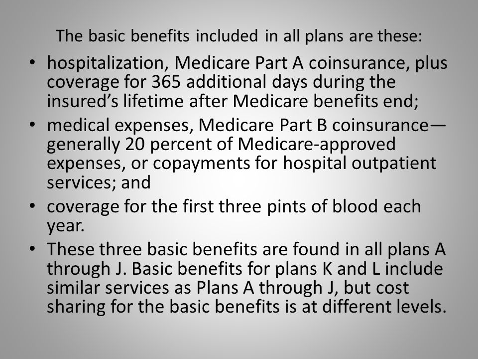 The basic benefits included in all plans are these: hospitalization, Medicare Part A coinsurance, plus coverage for 365 additional days during the insured's lifetime after Medicare benefits end; medical expenses, Medicare Part B coinsurance— generally 20 percent of Medicare-approved expenses, or copayments for hospital outpatient services; and coverage for the first three pints of blood each year.