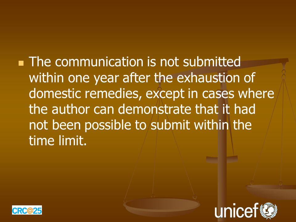 The communication is not submitted within one year after the exhaustion of domestic remedies, except in cases where the author can demonstrate that it had not been possible to submit within the time limit.
