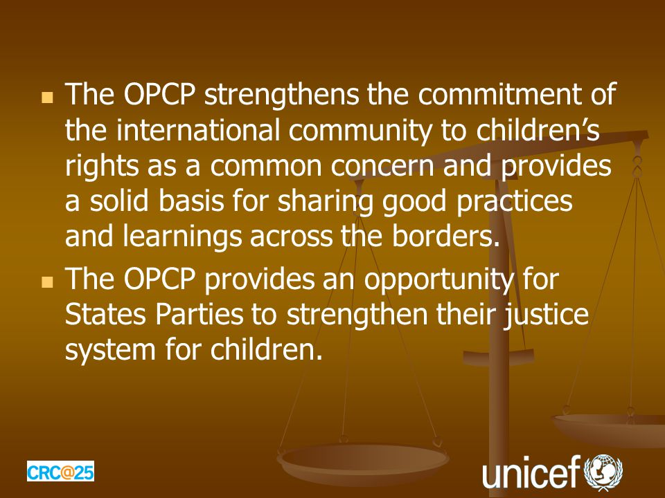 The OPCP strengthens the commitment of the international community to children's rights as a common concern and provides a solid basis for sharing good practices and learnings across the borders.