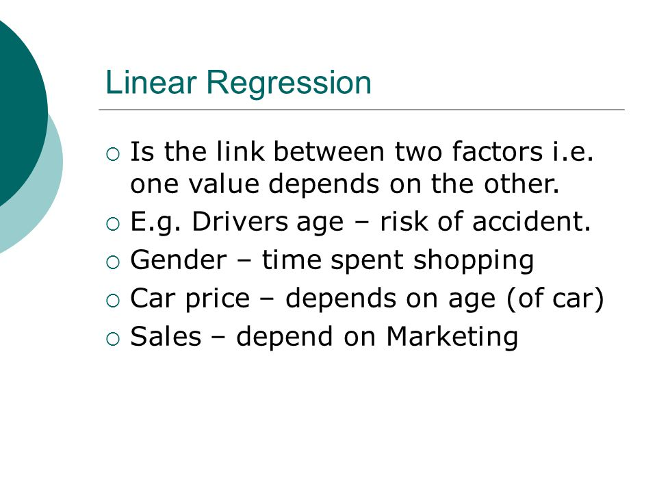 Linear Regression and Correlation Topic 18  Linear