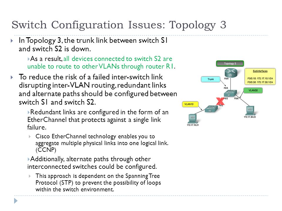 Switch Configuration Issues: Topology 3  In Topology 3, the trunk link between switch S1 and switch S2 is down.