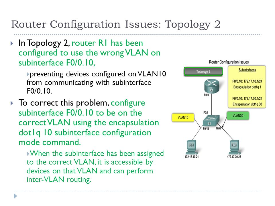 Router Configuration Issues: Topology 2  In Topology 2, router R1 has been configured to use the wrong VLAN on subinterface F0/0.10,  preventing devices configured on VLAN10 from communicating with subinterface F0/0.10.