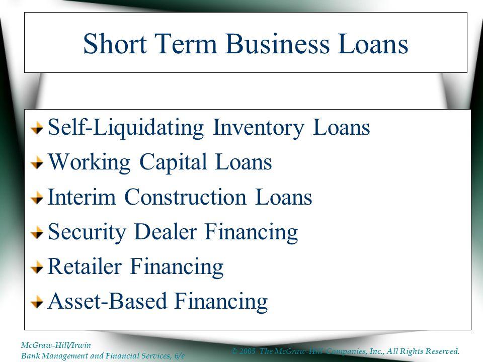 Self liquidating inventory loans
