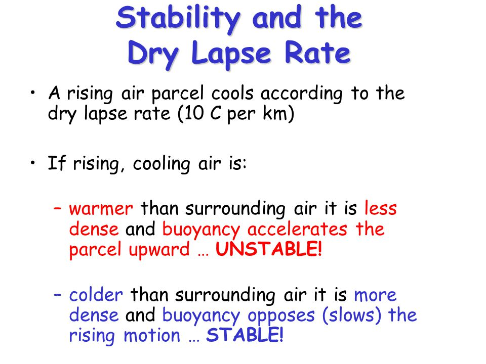 Stability and the Dry Lapse Rate A rising air parcel cools according to the dry lapse rate (10 C per km) If rising, cooling air is: –warmer than surrounding air it is less dense and buoyancy accelerates the parcel upward … UNSTABLE.