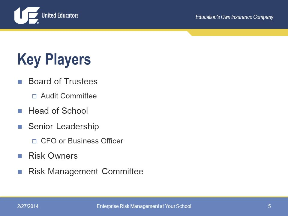 Education's Own Insurance Company Key Players Board of Trustees  Audit Committee Head of School Senior Leadership  CFO or Business Officer Risk Owners Risk Management Committee 2/27/2014Enterprise Risk Management at Your School5