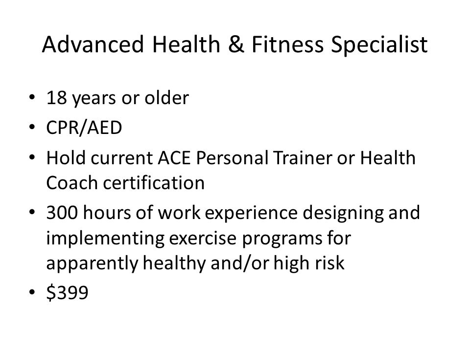 Professional Certifications American College Of Sports Medicine