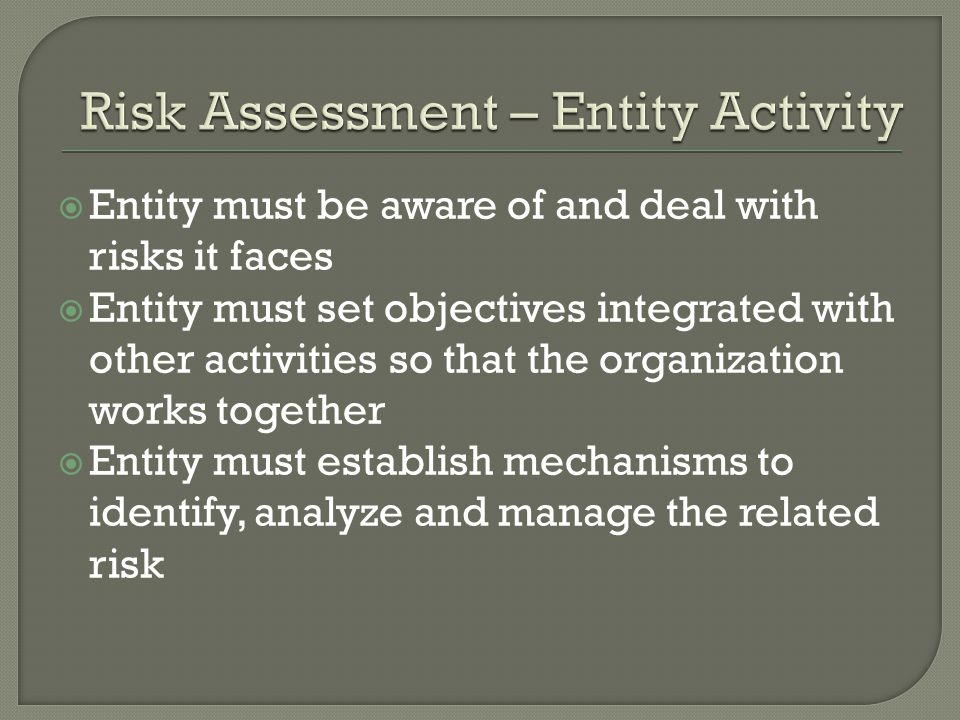  Entity must be aware of and deal with risks it faces  Entity must set objectives integrated with other activities so that the organization works together  Entity must establish mechanisms to identify, analyze and manage the related risk