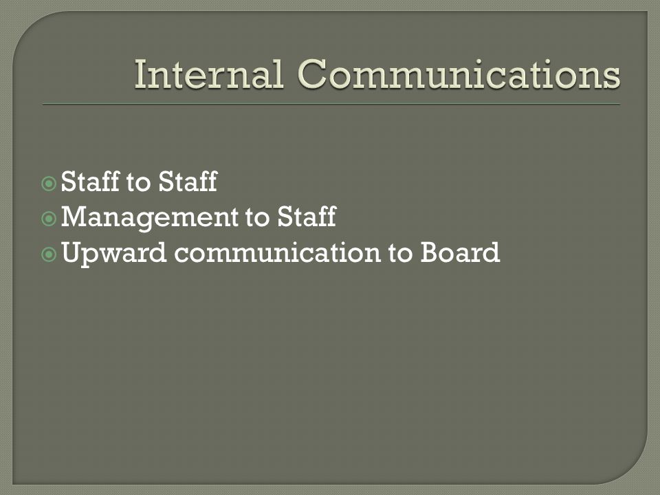  Staff to Staff  Management to Staff  Upward communication to Board