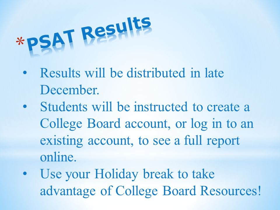 Results will be distributed in late December.