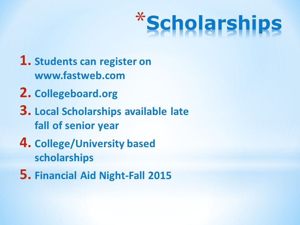 1. Students can register on   2. Collegeboard.org 3.