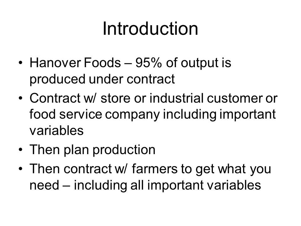 Supply Chain Management AG BM 460. Introduction Hanover Foods – 95 ...