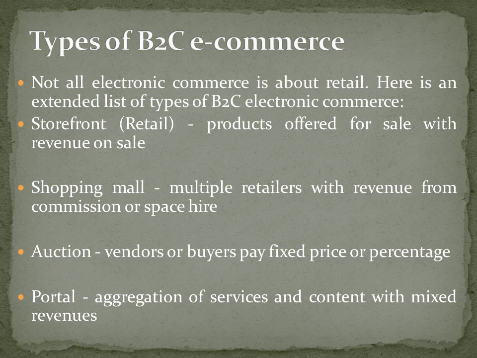 Not all electronic commerce is about retail.