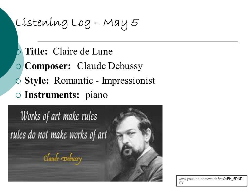 Listening Log – May 9  Title: Jurassic Park Theme