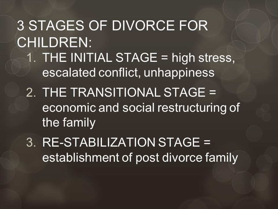 3 STAGES OF DIVORCE FOR CHILDREN: 1.THE INITIAL STAGE = high stress, escalated conflict, unhappiness 2.THE TRANSITIONAL STAGE = economic and social restructuring of the family 3.RE-STABILIZATION STAGE = establishment of post divorce family