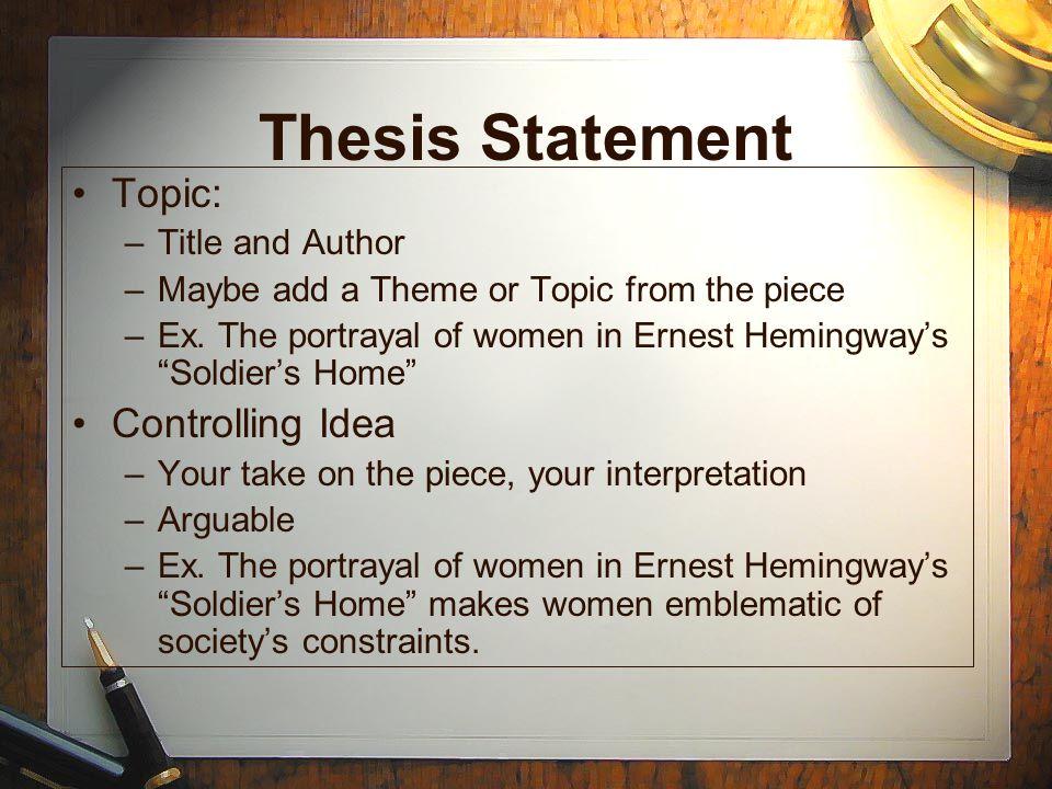 thesis on ernest hemingway