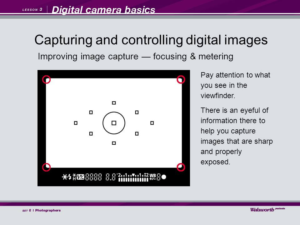 Improving image capture — focusing & metering Pay attention to what you see in the viewfinder.