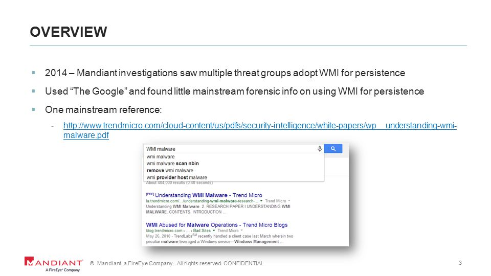 1 © Mandiant, a FireEye Company  All rights reserved  CONFIDENTIAL