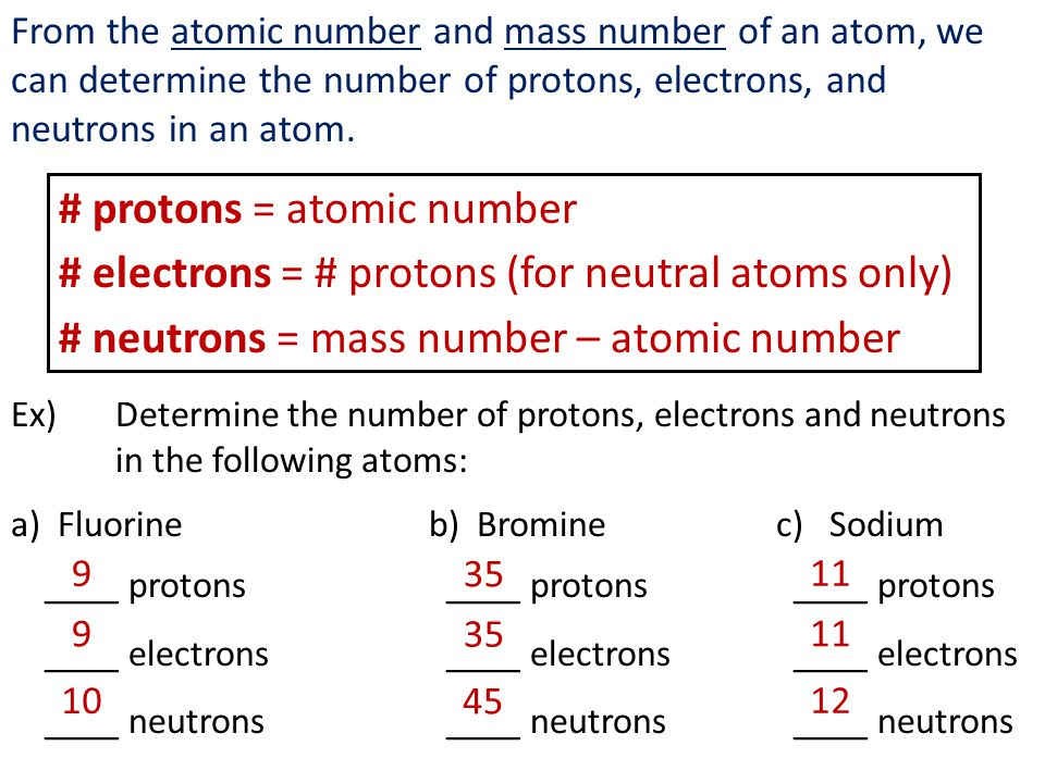 From the atomic number and mass number of an atom, we can determine the number of protons, electrons, and neutrons in an atom.