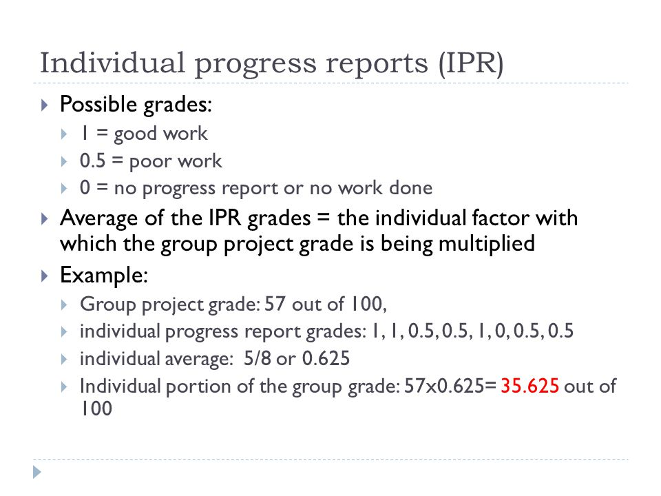 individual report sample for group project