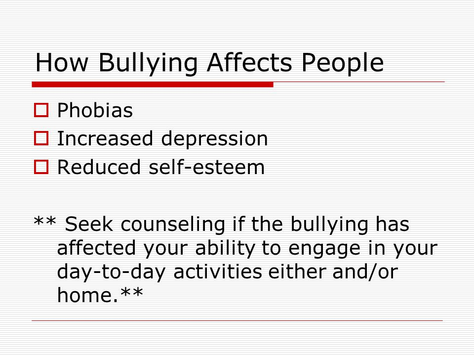 How bullying affects self esteem