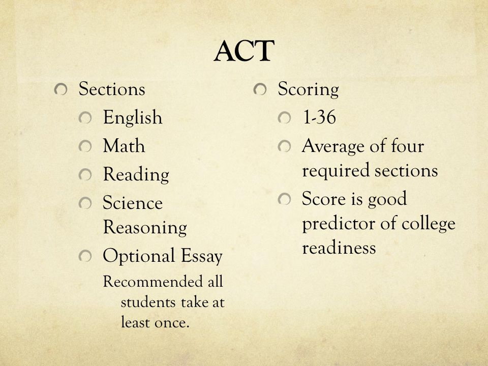 ACT Sections English Math Reading Science Reasoning Optional Essay Recommended all students take at least once.
