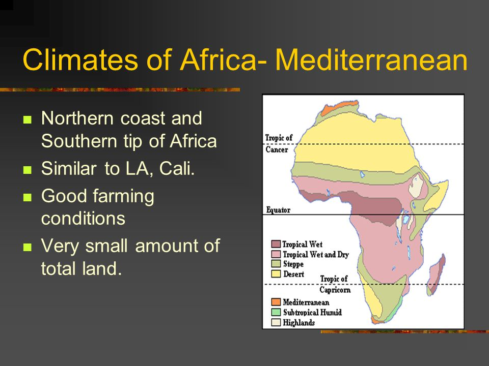 Climates of Africa- Mediterranean Northern coast and Southern tip of Africa Similar to LA, Cali.