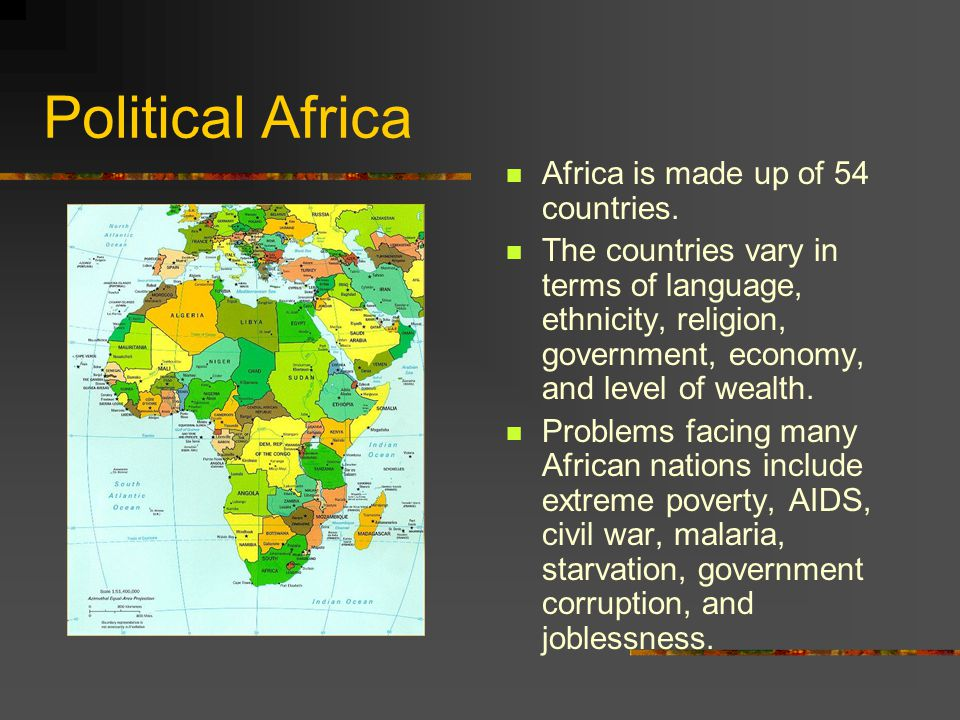 Political Africa Africa is made up of 54 countries.