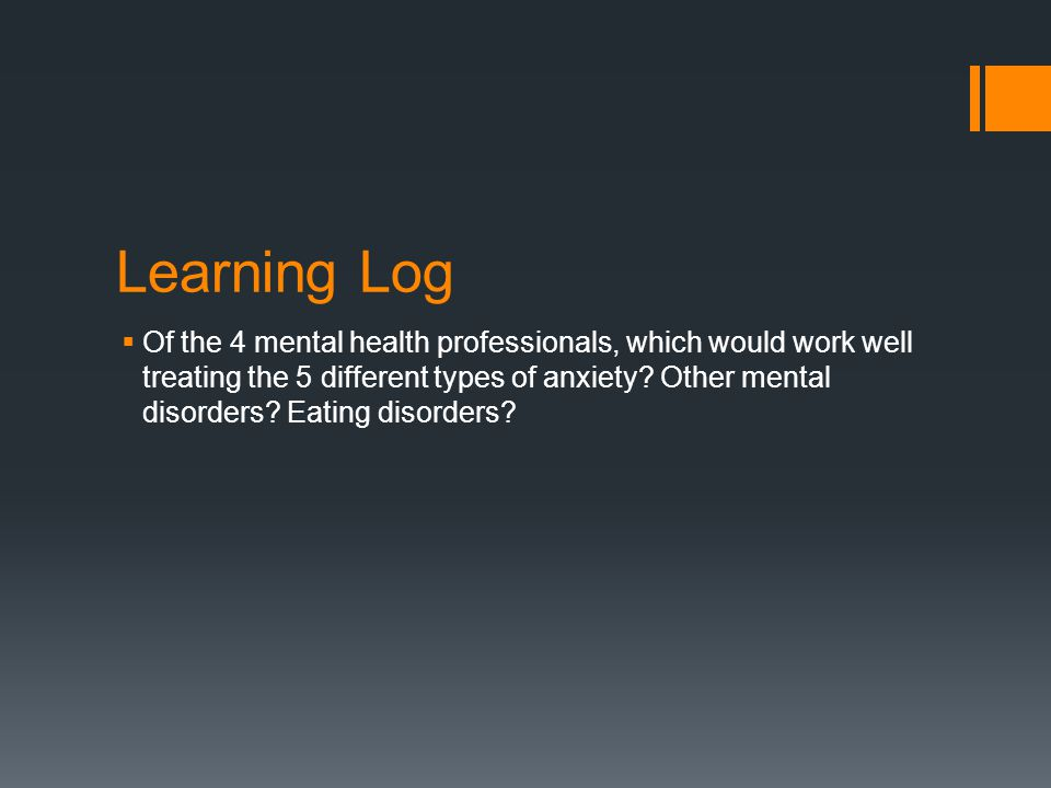 Learning Log  Of the 4 mental health professionals, which would work well treating the 5 different types of anxiety.