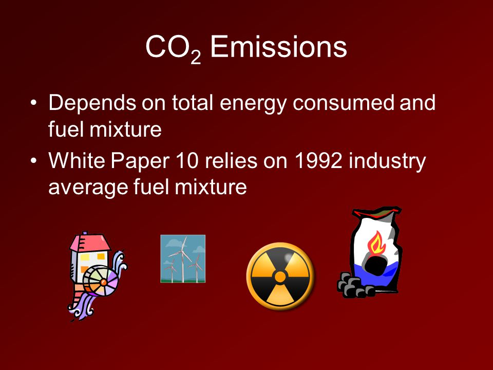 CO 2 Emissions Depends on total energy consumed and fuel mixture White Paper 10 relies on 1992 industry average fuel mixture