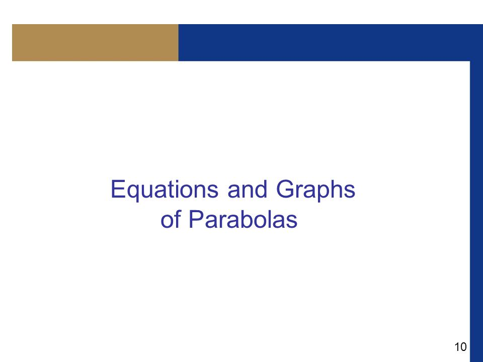10 Equations and Graphs of Parabolas