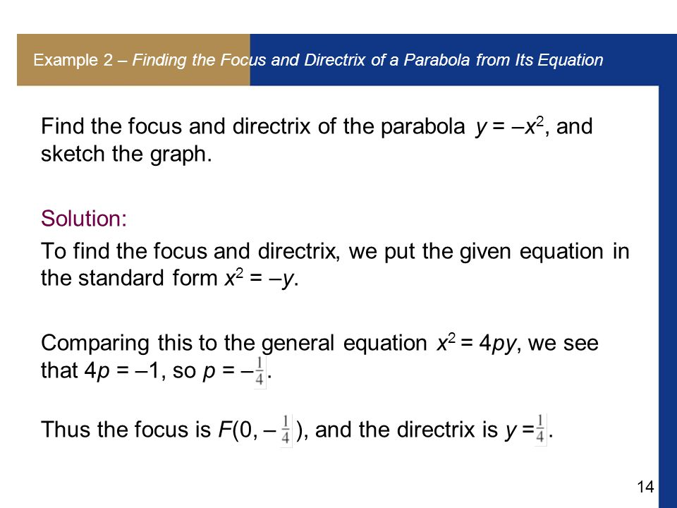 14 Example 2 – Finding the Focus and Directrix of a Parabola from Its Equation Find the focus and directrix of the parabola y = –x 2, and sketch the graph.