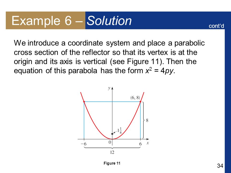 34 Example 6 – Solution We introduce a coordinate system and place a parabolic cross section of the reflector so that its vertex is at the origin and its axis is vertical (see Figure 11).