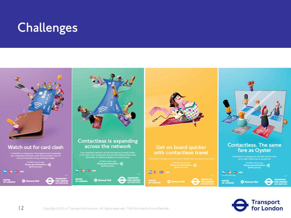 Challenges 12 Copyright © 2014 Transport for London.