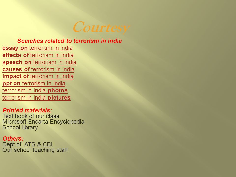 effects of terrorism in india essay