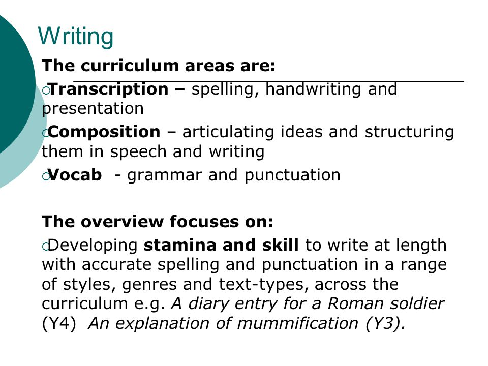 Writing The curriculum areas are:  Transcription – spelling, handwriting and presentation  Composition – articulating ideas and structuring them in speech and writing  Vocab - grammar and punctuation The overview focuses on:  Developing stamina and skill to write at length with accurate spelling and punctuation in a range of styles, genres and text-types, across the curriculum e.g.