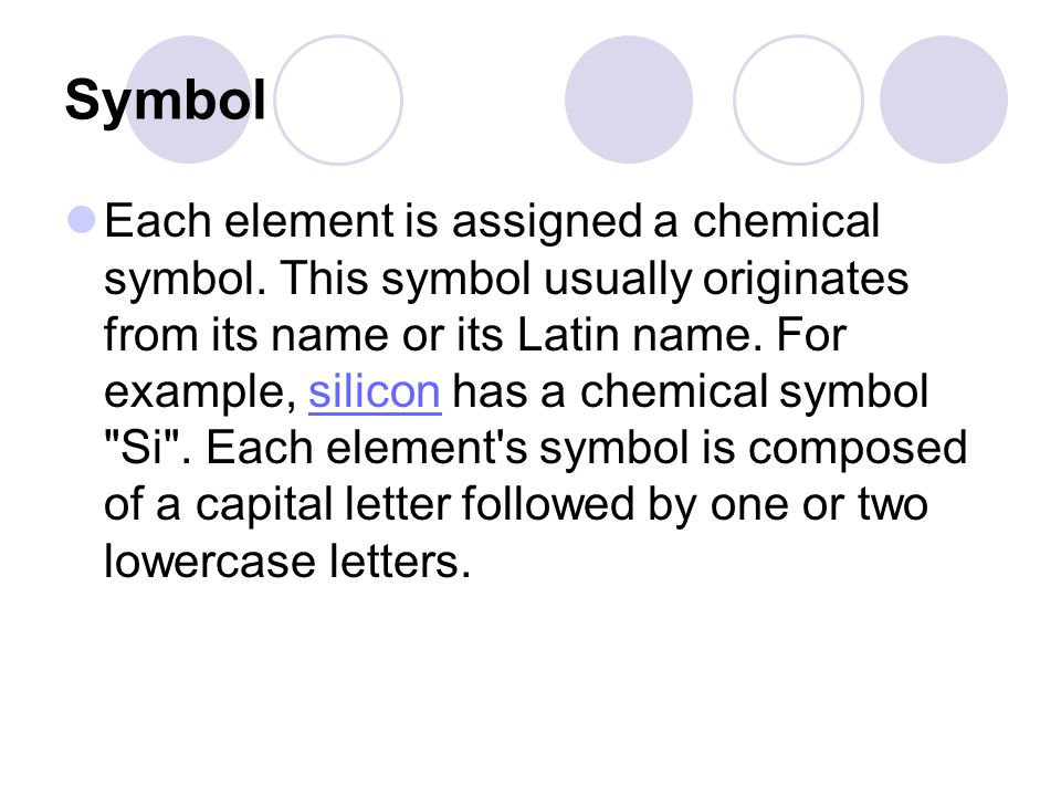 Chemical Elements Basic Information Symbol Each Element Is Assigned