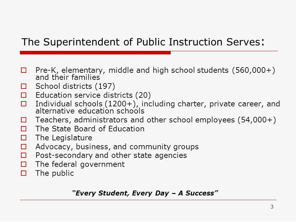 3 The Superintendent of Public Instruction Serves :  Pre-K, elementary, middle and high school students (560,000+) and their families  School districts (197)  Education service districts (20)  Individual schools (1200+), including charter, private career, and alternative education schools  Teachers, administrators and other school employees (54,000+)  The State Board of Education  The Legislature  Advocacy, business, and community groups  Post-secondary and other state agencies  The federal government  The public Every Student, Every Day – A Success