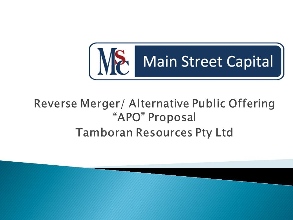 "Reverse Merger/ Alternative Public Offering ""APO"" Proposal"