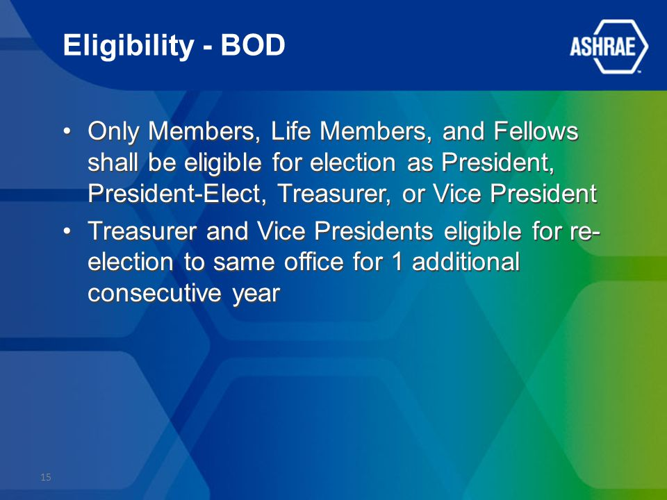 Eligibility - BOD Only Members, Life Members, and Fellows shall be eligible for election as President, President-Elect, Treasurer, or Vice President Treasurer and Vice Presidents eligible for re- election to same office for 1 additional consecutive year Only Members, Life Members, and Fellows shall be eligible for election as President, President-Elect, Treasurer, or Vice President Treasurer and Vice Presidents eligible for re- election to same office for 1 additional consecutive year 15