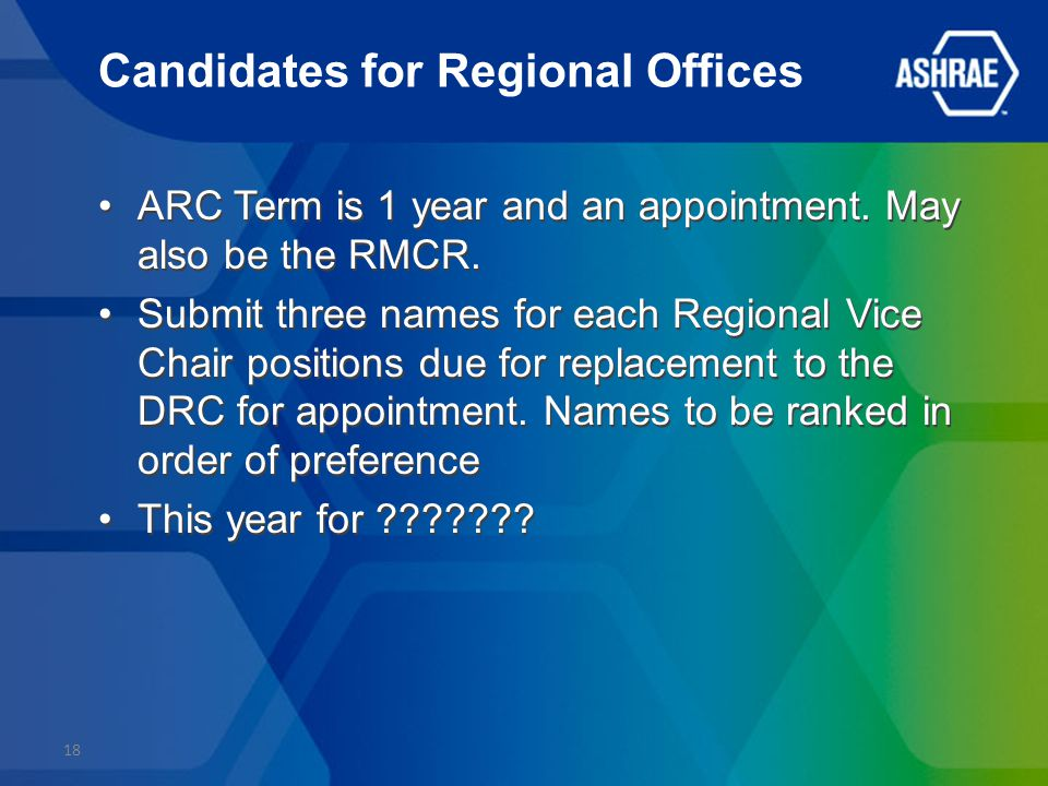 Candidates for Regional Offices ARC Term is 1 year and an appointment.