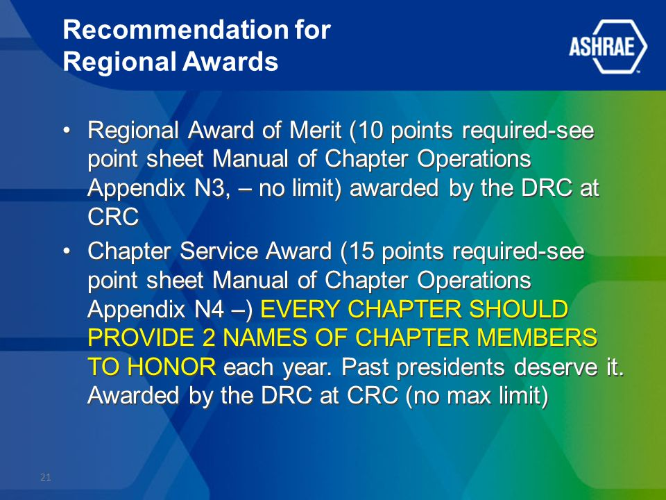 Recommendation for Regional Awards Regional Award of Merit (10 points required-see point sheet Manual of Chapter Operations Appendix N3, – no limit) awarded by the DRC at CRC Chapter Service Award (15 points required-see point sheet Manual of Chapter Operations Appendix N4 –) EVERY CHAPTER SHOULD PROVIDE 2 NAMES OF CHAPTER MEMBERS TO HONOR each year.