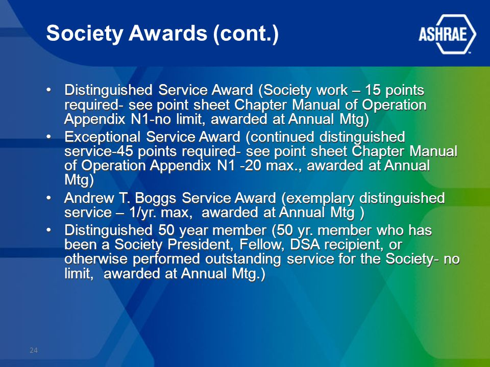 Society Awards (cont.) Distinguished Service Award (Society work – 15 points required- see point sheet Chapter Manual of Operation Appendix N1-no limit, awarded at Annual Mtg) Exceptional Service Award (continued distinguished service-45 points required- see point sheet Chapter Manual of Operation Appendix N1 -20 max., awarded at Annual Mtg) Andrew T.
