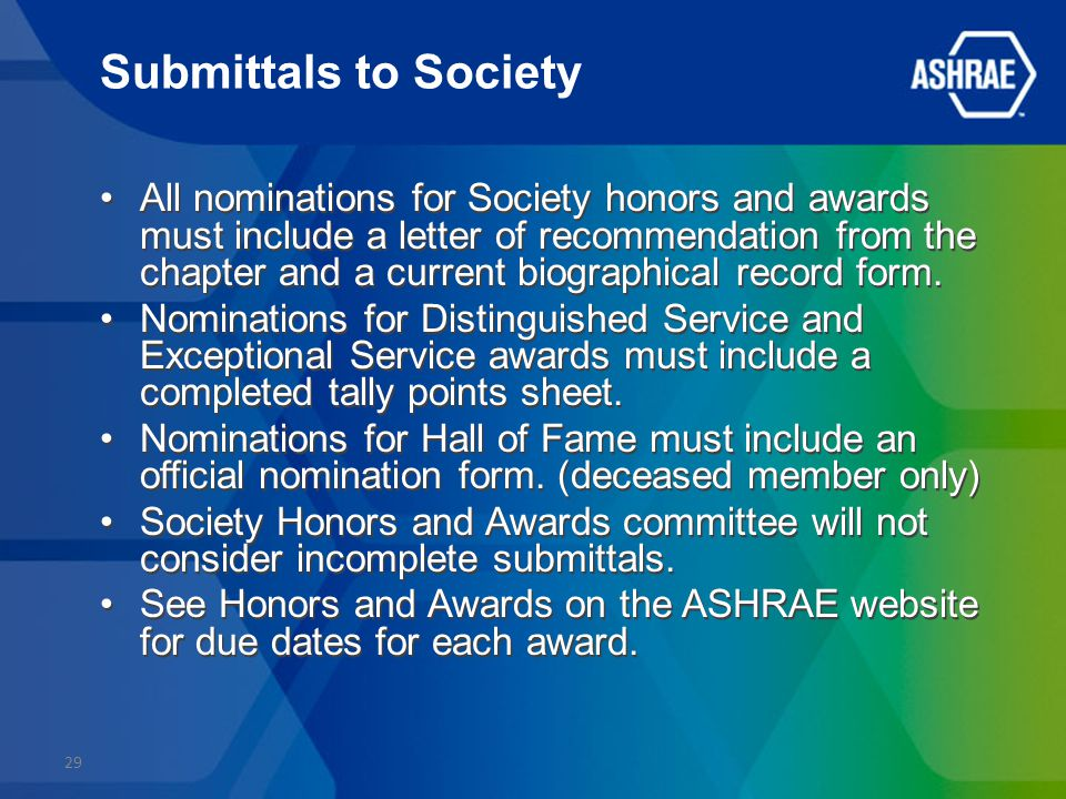 Submittals to Society All nominations for Society honors and awards must include a letter of recommendation from the chapter and a current biographical record form.