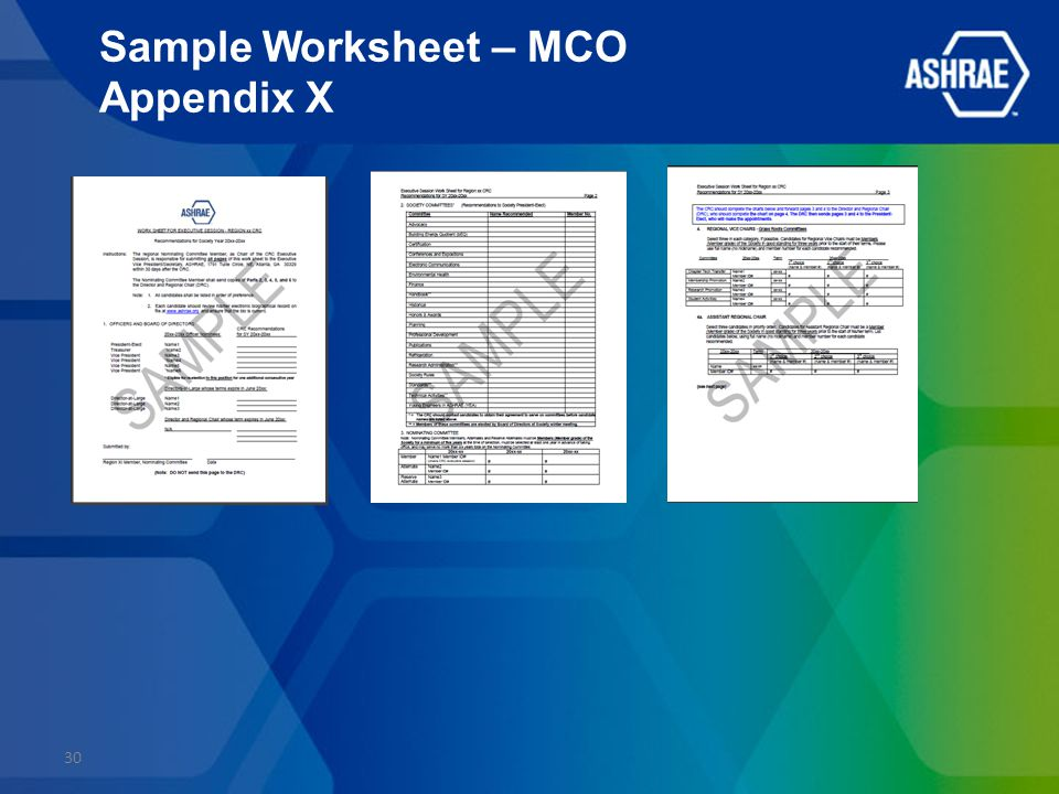 Sample Worksheet – MCO Appendix X 30