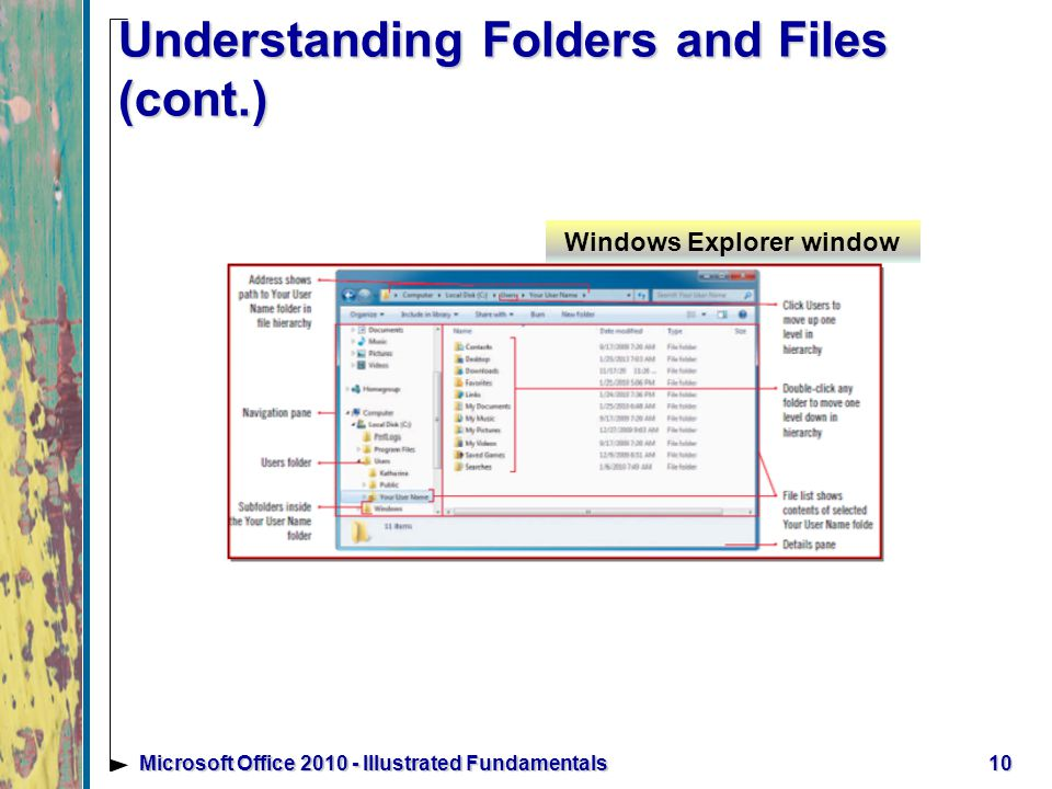10Microsoft Office Illustrated Fundamentals Understanding Folders and Files (cont.) Windows Explorer window