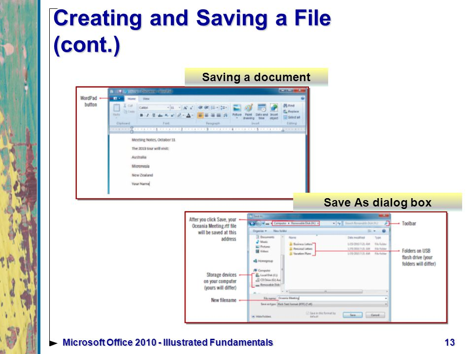 13Microsoft Office Illustrated Fundamentals Creating and Saving a File (cont.) Saving a document Save As dialog box