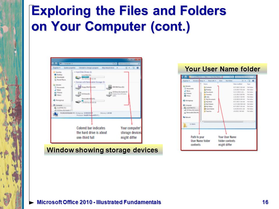 16Microsoft Office Illustrated Fundamentals Exploring the Files and Folders on Your Computer (cont.) Window showing storage devices Your User Name folder