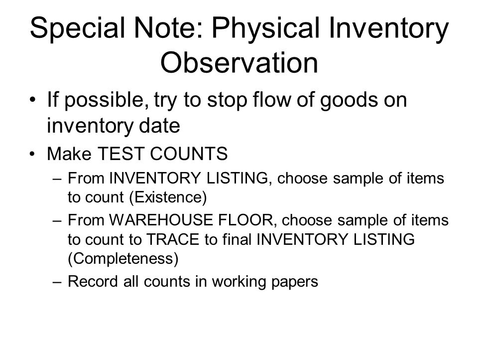 Special Note Physical Inventory Observation Importance Of