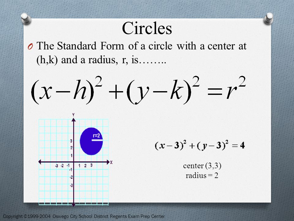 Circles Now if the center moves off of the origin to point (h, k) we can use the distance formula to find the radius.