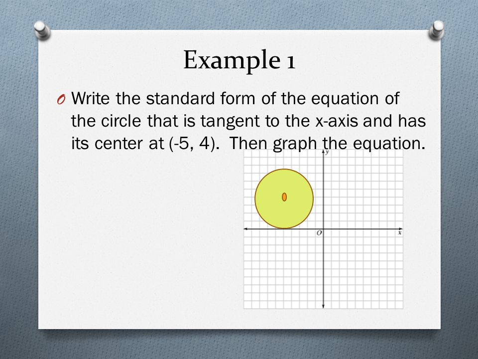 Circles O The Standard Form of a circle with a center at (h,k) and a radius, r, is……..